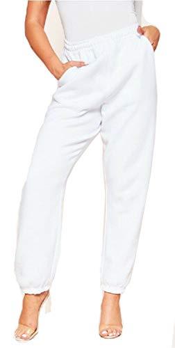 Pantaloni Sportivi da Donna Ragazza Pantaloni Larghi Hip Hop per Jogging Sport Ginnastica Palestra Danza con Elastico Casual Moda (Bianco, S)