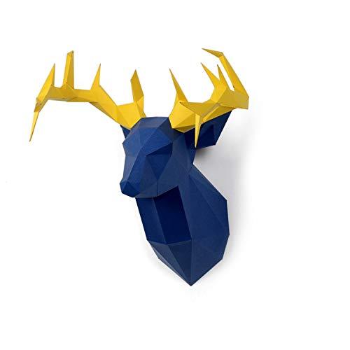 ENDARK DIY Pre-cortado Papercraft Ensamblaje Kit 3D Wall Ciervo Head Trophy (Ciervo)