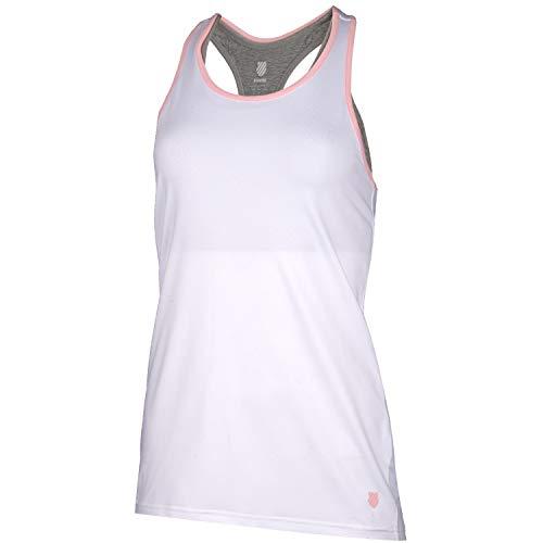 K-Swiss KS TAC Hypercourt Express Camiseta de Tenis, Mujer, Blanco/Light Gris Melange, L