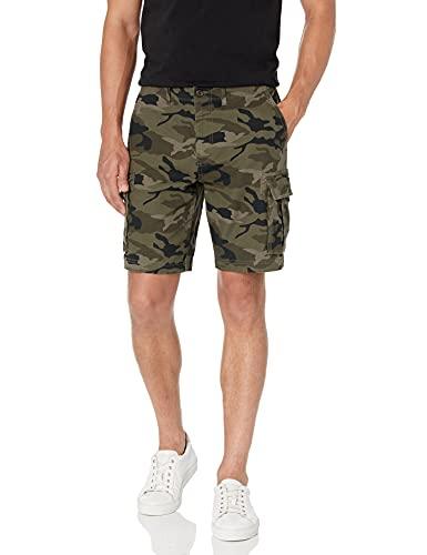 Marque Amazon – Goodthreads Short cargo en toile extensible confortable avec entrejambe de 22,8cm pour homme, camouflage vert, 29