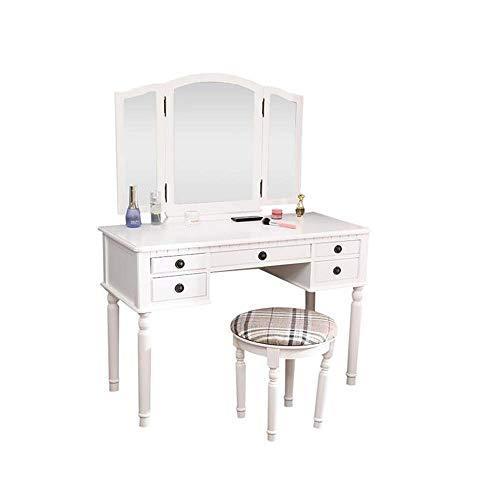 Great Deal! Dresser Three-Fold Square Mirror Drawers Roman Column Table/Stool with Mirror and Stool ...