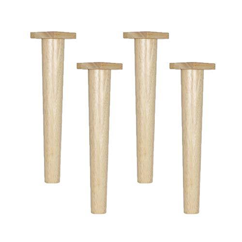 4 Patas de Muebles de Cono Recto de Madera Maciza Pies de Muebles de Roble Piernas de Gabinete Pies del Sofá Mesa Cama Sillas TV Armarios Escritorios,Con Palets de Madera(24.5cm)