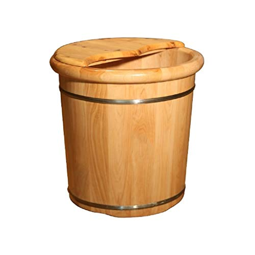 Lowest Prices! Solid Wood Natural Wood Foot Soaking Bucket Durable Foot Basin with Lid Massage Cedar...