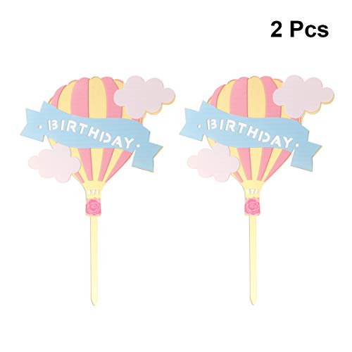 Amosfun Cake Topper Hot Air Balloon Vorm Verjaardag Cupcake Topper voor Verjaardagsfeest Verzamelen Festival 2 stks