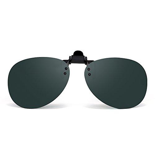 Retro Clip auf Randlos Flieger Sonnenbrille Polarisiert Flip up Linsen Brillen Herren(Polarisiertes Grün)