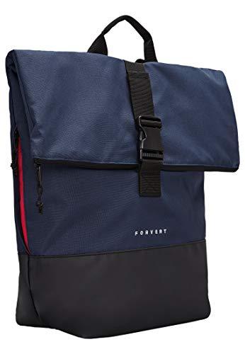 FORVERT Lorenz Unisex Backpack Robuster Daypack,Rucksack,ausgefallenes Design,Wickelverschluss,Innen- und Seitentasche,gepolstert,Navy,one Size