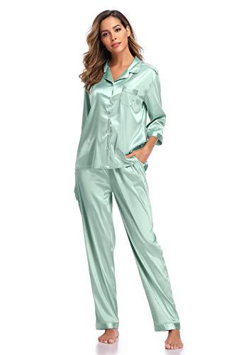 SHEKINI Elegante Pijama de Seda para Mujer Pijama de Dos Piezas con Solapas Pijamas Pantalones de Manga Larga Pantalones con Botones Superiores con Cordón Cómodo Pijama Tipo Camiseta