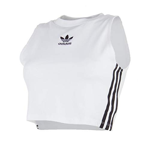adidas Damen Crop Tanktop, White/Black, 38