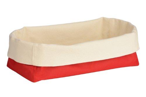 Premier Housewares 1901107 Panier à Pain en Polyester/Coton Crème/Rouge