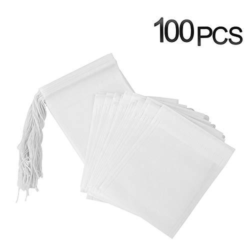 PPpanda Teebeutel Leeres Papier Teefilterbeutel Einweg-Infuser mit Kordelzug, 100 Stück, 2,75 x 3,54 Zoll / 7 x 9 cm