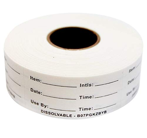 Dissolvable Food Labels Perfect for Glass, Metal, Plastic Reusable Containers 500 Labels per roll 1x2 inch Dissolves in Water in 30 sec Leaves no Residue. Made in USA (Black)