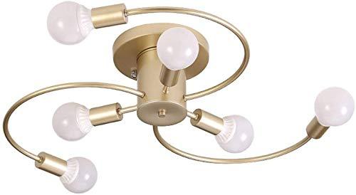 Beautiful Home Decoratielampen vintage plafondlamp zwart licht 6-E27 woonkamerverlichting cycloongoud retro minimalistisch plafondlamp beugel ideaal voor eetkamer kinderkamer goud