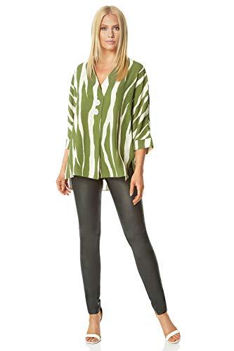 Romeinse Originelen Vrouwen Zebra Print Knop Overshirt - Dames Smart Casual Dagelijks Feest Stijlvolle V-hals 3/4 Lengte Mouw Grote Dier Gedrukt Knopen Detail Shirt Blouse Tops