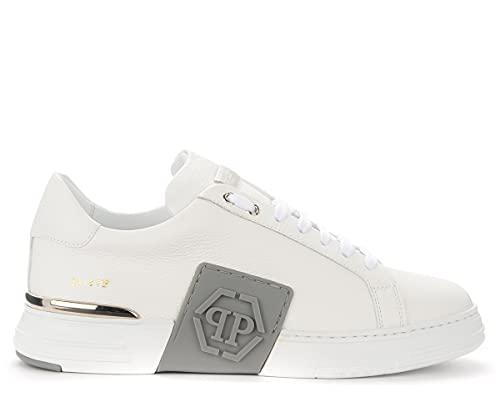 Zapatillas Philipp Plein Phantom De Piel Blanca con Logotipo Gris, Talla UK: