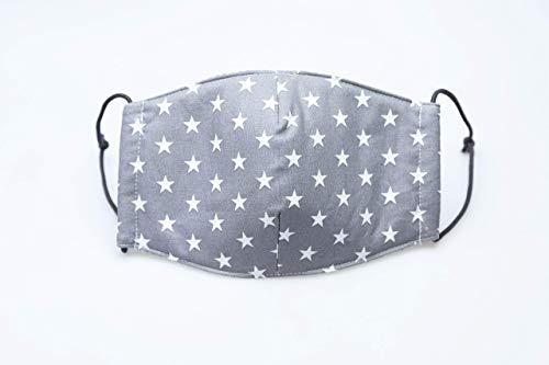 """handgemachte Mund- und Nasenbedeckung aus Baumwollstoff, auch gegen Staub und Wind,""""graue Sterne"""", aus Baumwollstoff, weiße Sterne auf grauem Grund, graue Gummikordel"""