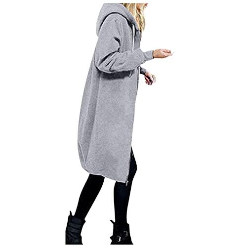 Darringls Übergangsjacke Damen Günstig Kapuze Leicht Parka Warme Kapuzenjacke Outdoorjacke mit Einstellbarer Kordelzug Jacke Reißverschlusstasche Sweatshirt Stoffjacken