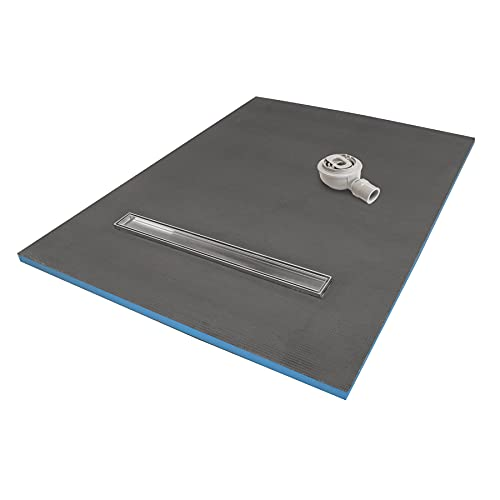 1500 x 900 x 30mm Rectangular Shower Tray with Linear Drain - Choice of Shower Grate (Tiles)