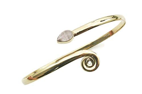 mantraroma Armreif Armband Messing golden Rosenquarz rosa (932-05-016-07)