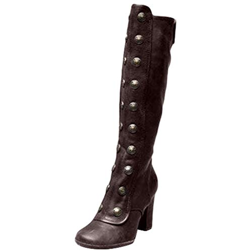 Toimothcn Women Knee High Boots Vintage Gothic Pirate Booties Square High Heels Snow Boots Shoes (Brown,6.5)