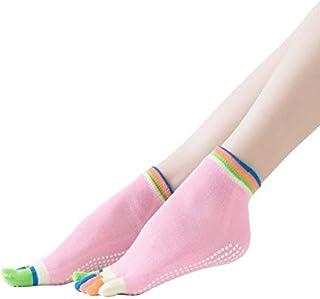 1 PWomen Yoga Socks Anti Slip Gym Sport Sock Ballet Gym Fitness Elastic 5 Toes Backless able Sport Socks : Pink