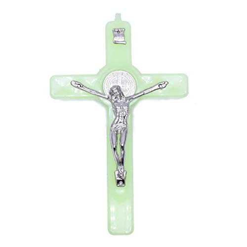 KLOVA Colgante de Collar, Cruz de Cristo Jesús Resplandor Luminoso en la Oscuridad Colgante Crucifijo Adornos Fabricación de Collares con dijes