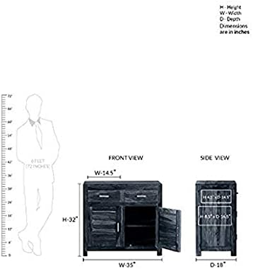 Shilpi Pure Sheesham Wood Standard Size Multipurpose Storage Cabinet Double Door & Drawers