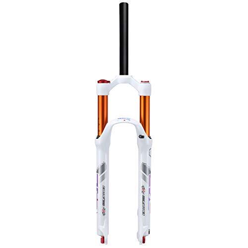 aiNPCde Bicicleta de Montaña Horquilla de Suspensión 26/27.5 Pulgadas, Horquilla Delantera MTB con Ajuste de Rebote, 28.6mm Tubo Recto Horquilla de Aire para Bicicleta Blanco (Size : 27.5inch)