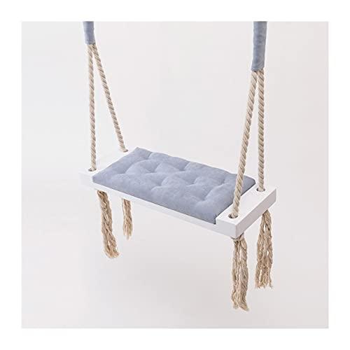 YYDMBH Columpios Swing de Madera con cojín de Esponja Atención al Aire Libre Shake Wood sólido Silla Colgante Dormitorio Entretenimiento (Color : Blue)