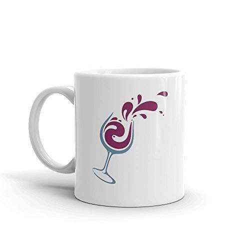 Dozili Grappige koffiemok - glas wijn keramische koffiemok beker, 11 Oz, wit