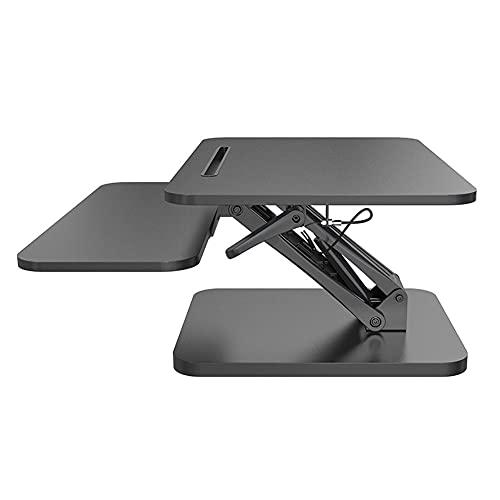FLOOR Escritorio con soporte para sentarse, altura ajustable, monitor dual con bandeja de teclado ancha, altura ajustable de 120 a 410 mm, 640 x 455 mm, color negro