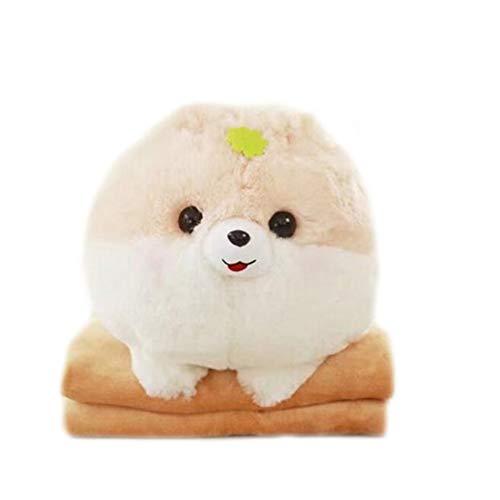 LANFIRE 1 almohada de felpa para perro pomerano de dibujos animados creativos de 30 x 40 cm con manta interior (100 x 170 cm), regalo de cumpleaños para niños (amarillo)