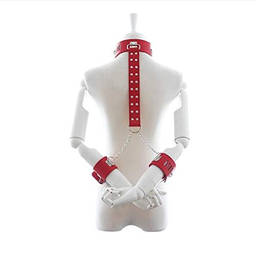WWJ XS Rstraint Kit de correa de cuello a mueca para mujer con cierre de piel suave y cmoda camiseta ajustable, gafas de sol (color: rojo)