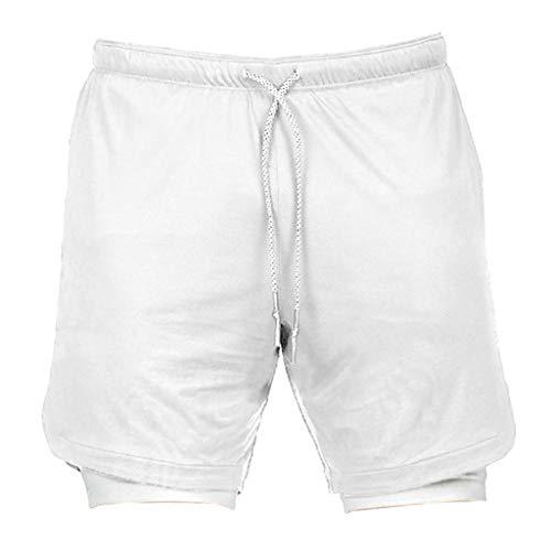 Sharplace Pantalones Cortos de Fitness 2 en 1 para Hombre Pantalones Cortos de Running Twin - multicolor, Blanco m