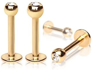 Sconosciuto Clear Crystal Gold PTD3mm Labret Labret Bar 1.2mm x 10mm
