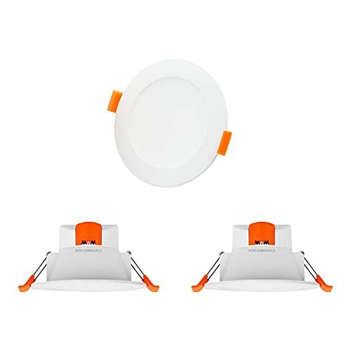 Lamparas Plafones Focos LED Empotrables de Techo 8W Downlight LED Luz Calida Fria Ajustable antes Instalacion Agujero 75-90MM IP44 para Cocina Baño Salon No Regulable Lot de 3 de Enuotek