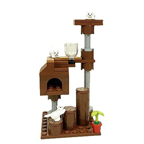 WWEI Juego de construcción de escena de animales domésticos, marco para gato con placas de construcción, compatible con Lego a partir de 6 años