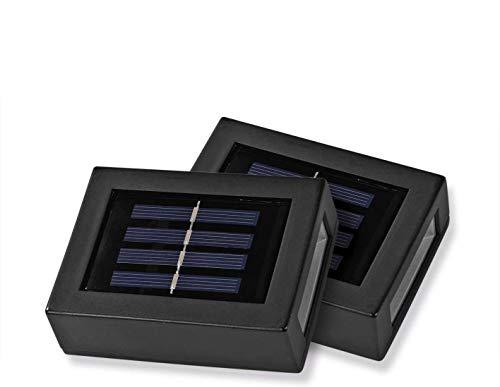 EASYmaxx Solar-Wandleuchte - 2er-Set | Kompakt & kabellos: ideal für dunkle Ecken & Co, integrierter Tageslichtsensor | Bis zu 8 Stunden Leuchtdauer [schwarz]