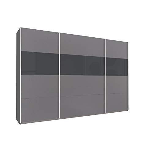 KUMOX Kleiderschrank direkt vom Hersteller, moderner Schwebetürenschrank 315 cm breit, 210 cm hoch 3-türig mit Einlegeböden und Kleiderstangen, Made in Germany, Grau Metallic mit Basalt Glas