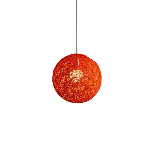 Baalaa Lámpara de araña de bambú naranja, ratán y bola de cáñamo creatividad individual esférica de ratán nido pantalla