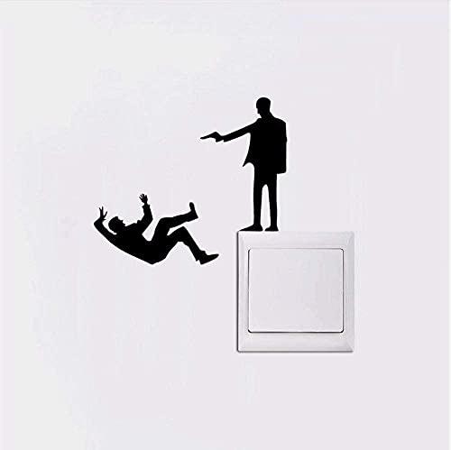 Shooting Man vinilo luz interruptor pegatina silueta pared pegatina hogar decoración mural