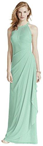 David's Bridal Long Mesh Bridesmaid Dress with Illusion Halter Neckline Style F15662, Mint, 20