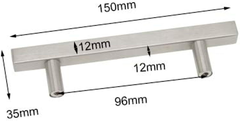 Probrico Cabinet Pulls Satinless Steel Square T Bar Diameter 12mm Kitchen Wardrobe Cupboard Closet Dresser Chest Drawer Handles  (color  96mm)
