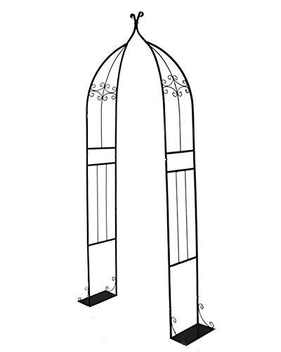 F-XW Arco decorativo para boda, arco, pérgola de metal, para interior/exterior, césped, jardín, varias plantas, 205 cm x 80 cm x 30 cm, color negro