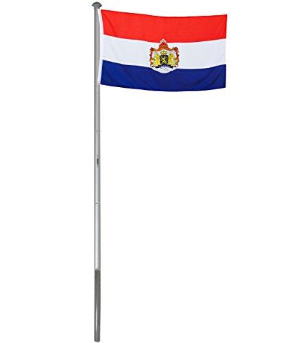 Brubaker Aluminium Fahnenmast Flaggenmast 6 m inklusive Deutschland Flagge + Niederlande Flagge 150 x 90 cm und Bodenhülse