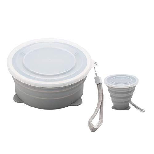 BABIFIS Kreativ silikon hopfällbar skål utomhus picknick resa vandring bärbar hopfällbar kopp 800 ml kombination grå
