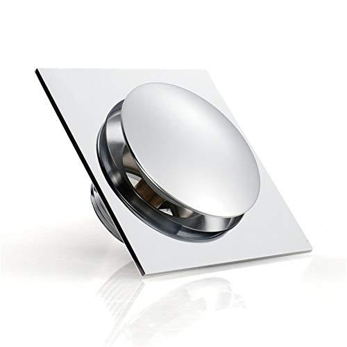 Lpinvin Bodenablauf 4-Zoll-Pop-Up-Bad Bodenablauf Chrom-Finish Kupfer Flieseneinsatz Platz Duschwanne Drain Sieb mit abnehmbarem Bezug Badezimmerzubehör (Farbe : Silver, Size : 100 * 100MM)
