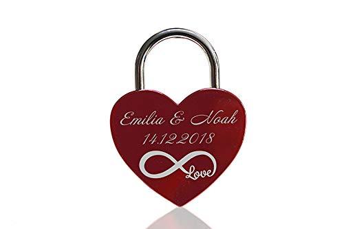 ELUNO Liebesschloss Herzschloss Schloss mit Gravur und Schlüssel I Valentinstags Geschenk für Sie Ihn Hochzeit I incl. Samtbeutel I Motiv Herz 0004 in Rot