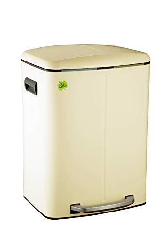 Made for us® 40 L Cremeweiss, Tret-Abfalleimer 2x20 L Mülleimer 2 Fächer für Küchen, 2-fach Mülltrennung m. 2 Inneneimern, 2er Müll-Trennsystem 40 Liter Abfallsammler Duo-Treteimer mit Deckel