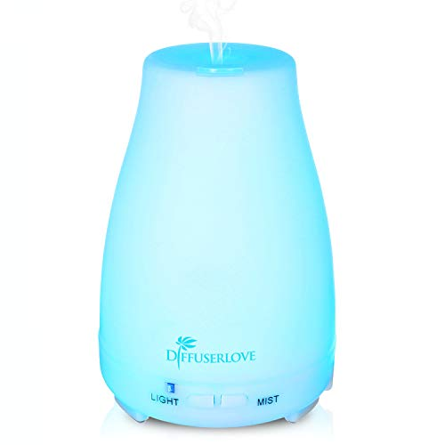 Diffuserlove 200ML Essential Oil Diffusers Ultrasonic Mist Humidifiers BPA-Free Aromatherapy Diffuser with 7 Color LED Lights Waterless Auto Shut-Off for Bedroom Office Kitchen