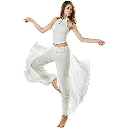 Traje De Ropa De Yoga, Cuello Abotonado Chaleco Ombligo Expuesto Pantalones Harem Elegantes De Gasa,ActuacióN Grupal Al Aire Libre Danza Del Vientre De Ballet LíRico Gimnasia Disfraz De Carnaval